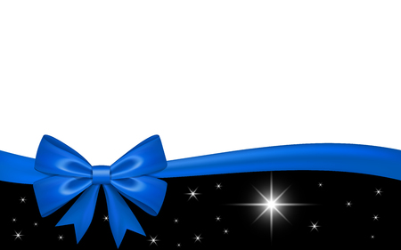 gift card with blue ribbon bow isolated on white background