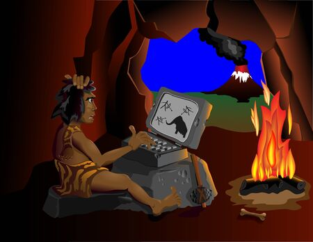 man cave: The wild man is sitting in a cave near the fire and running on your computer. On different layers. Illustration