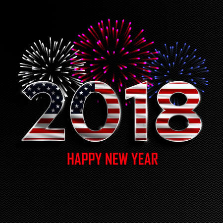 Happy New Year And Merry Christmas  2018 New Year Background      89859898   Happy New Year and Merry Christmas  2018 New Year background  with national flag of USA and fireworks  Vector illustration