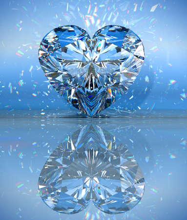 Coeur en forme de diamant au bleu avec réflexion. Banque d'images - 7694783