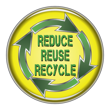 Reduce Reuse Recycle is an illustration of a recycle symbol with the words Reduce, Reuse and Recycle in the center on a button. Stock Vector - 33136210