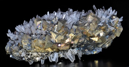 quartz crystals: Chalcopyrite, pyrite and calcite white rock crystal