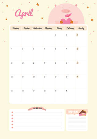 Cute Calendar 2016 Template  Happy Birthday Diary With Vector      41350381   Cute Calendar Template for 2016  Beautiful Diary with Vector  Character and Funny Illustrations Animals  Trendy Season Holidays  Backgrounds