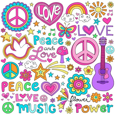 Peace and Love Flower Power Groovy Psychedelic Notebook Doodles Set Stock Vector - 17149785