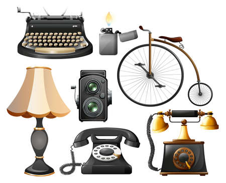 Different kind of antique objects Stock Vector - 42301902
