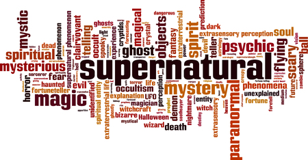unknown mystery strange weird: Supernatural word cloud concept. Vector illustration Illustration