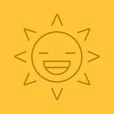 Riendo Sol Sonrisa Icono Lineal Buen Humor Delgada Linea
