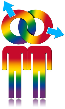 SEX ICONS: Gay symbol with the colors of the rainbow - gay relationship concept. Isolated on white background