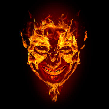 devil: fire devil face on black background Stock Photo