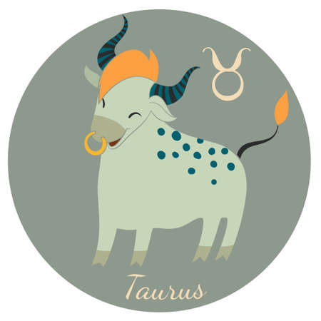 Cute Taurus zodiac sign of Horoscope. Vector Illustration. Stock Vector - 40101475