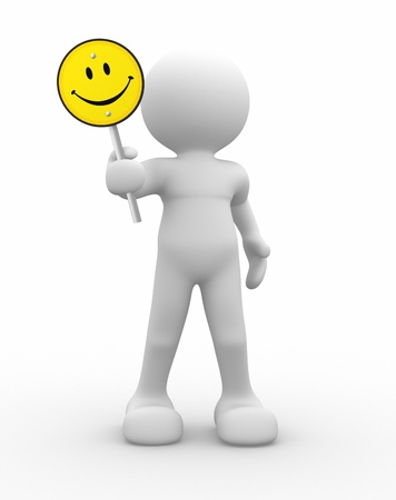 smile icon: 3d human icon with smiling yellow sign - rendered in 3d