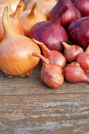 small onion: red and yellow onions on wooden table