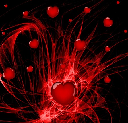 love abstracts: Lots of hearts over a red abstract background