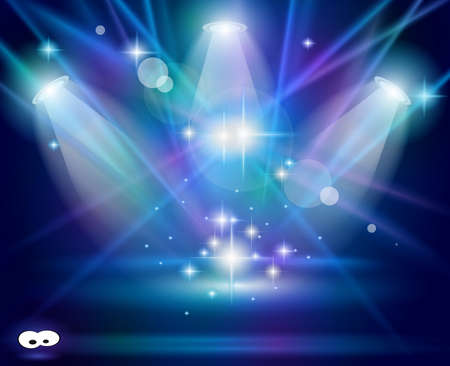 Magic Spotlights with Blue rays and glowing effect for people or product advertising. Every lights and shadow are transparent. Stock Vector - 10215613