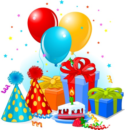 Birthday gifts and decoration ready for birthday party Stock Vector - 7333383
