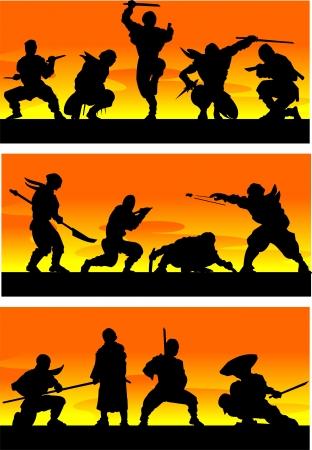ninja: Ninja at sinrise Vector illustration