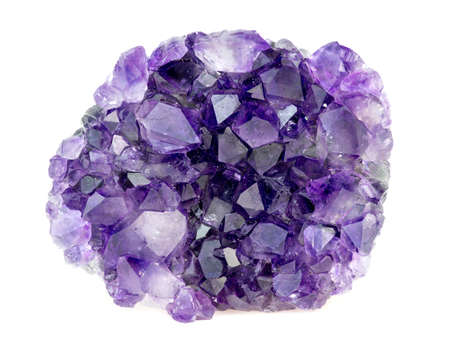 quartz crystal: Beautiful natural purple amethyst geode crystals gemstone isolated on white