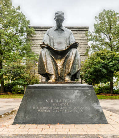 Tesla Monument at Goat Island, Niagara Falls, New York. Gift of Yugoslavia to the United States, 1976. Nikola Tesla designed the first hydro-electric power plant in Niagara Falls. Stock Photo - 38764100