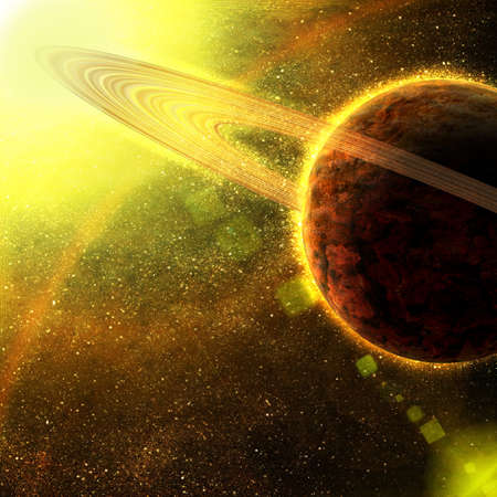 planet with asteroid rings in space Stock Photo - 12697346
