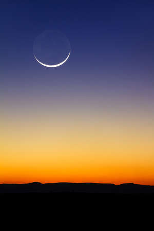 Beautiful new moon at sunset in Madagascar Stock Photo - 31016903