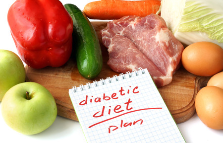 Diabetes concept. Notepad  with diabetic diet and raw organic food. Stock Photo - 39058978