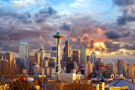 seattle washington: Seattle skyline at sunset, WA, USA