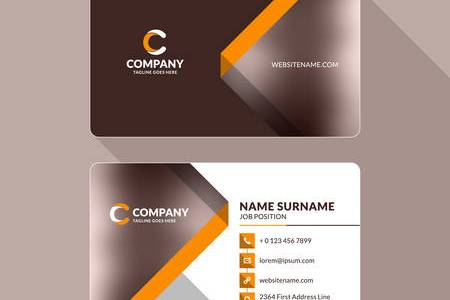 Creative And Clean Double sided Business Card Template  Orange     Creative and Clean Double sided Business Card Template  Orange and Brown  Colors  Flat