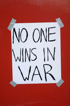 anti war protest: A war protest sign that was posted during a peace rally in Cleveland Ohio, Labor Day 2007