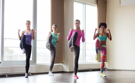 fitness, sport, training, gym and martial arts concept - group of women working out and fighting in gym Stock Photo - 46993377