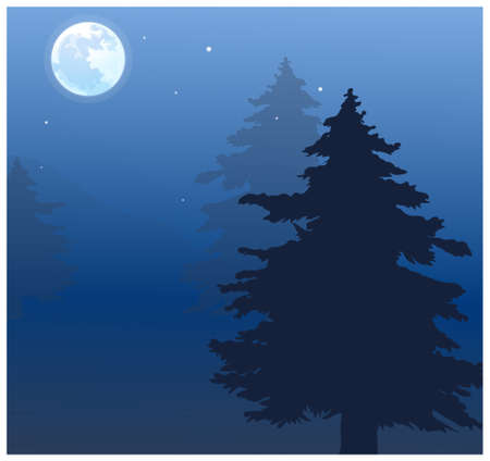 This illustration is a common natural landscape. Moon over treetops Stock Photo - 15881078