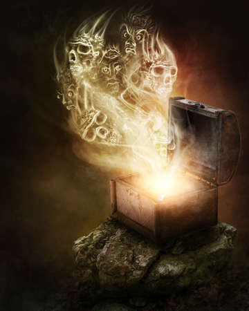 Pandoras box and scull smoke Stock Photo - 29275392