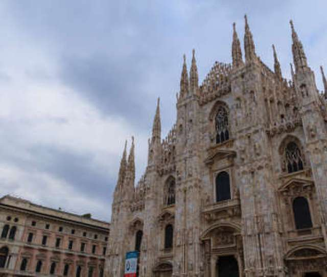 Milan Cathedral Duomo Di Milano View Famous Italian Landmark Gothic Architecture Stock