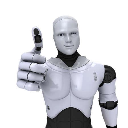 robot: Argento androide robot con il pollice fino sorridente illustrazione 3d su bianco