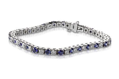 Diamond and Sapphire Tennis Bracelet isolated on white Stock Photo - 27864371