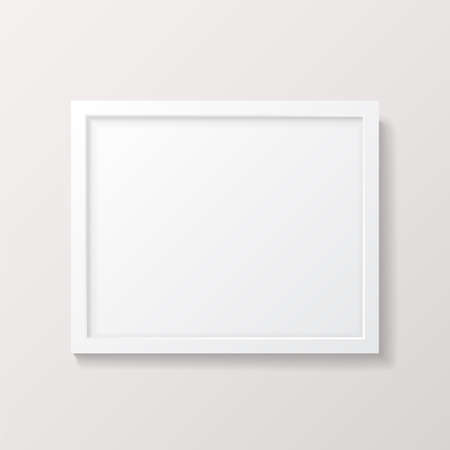 realistic empty white picture frame