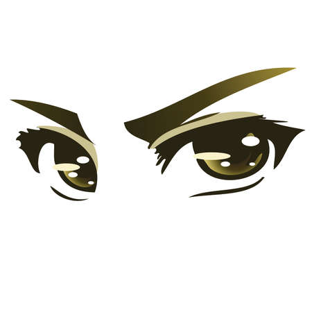 Green Intense Anime eyes Stock Vector - 43452419