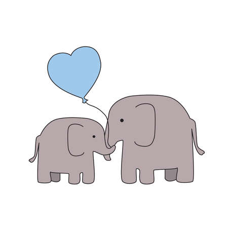 Mother and Baby Boy Elephant with Blue Heart Balloon Stock Vector - 43559102