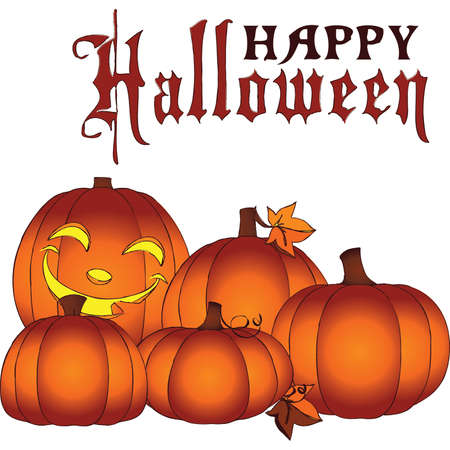 Glowing Happy Halloween Mini Pumpkin Patch Stock Vector - 46271401