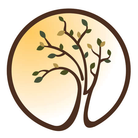 Green and Yellow Tree icon Illustration