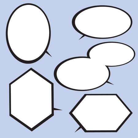 Black and White Hexagonal and Round Comic Speech Balloons