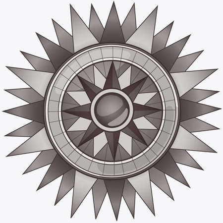 Black and White Vintage Compass Stock Vector - 50638037