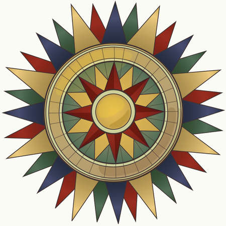 Vintage Colored Compass Illustration