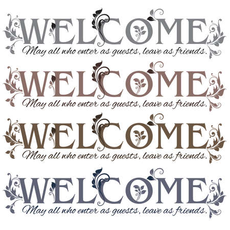 Floral Enter as Welcome Guests, Leave as Friends Banner in four colors