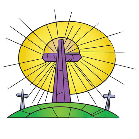 Stained Glass Easter Crosses On a Hill Stock Vector - 54756590