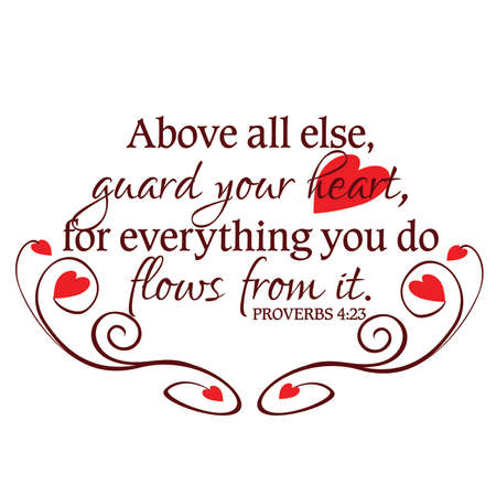 Proverbs 4:23 Guard Your Heart Inspirational Scripture Typography in Red Stock Vector - 57202939