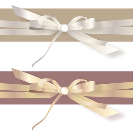Gold and Silver Satin Ribbon Bows Stock Vector - 57536718