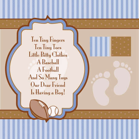 Baby Blue and Brown Retro Boys Shower Invite Elements Stock Vector - 57535704