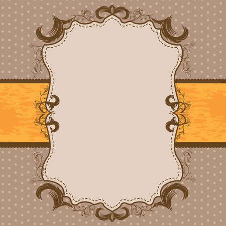 Vintage Framed Shower or Wedding Invite with Orange Ribbon Stock Vector - 57535703