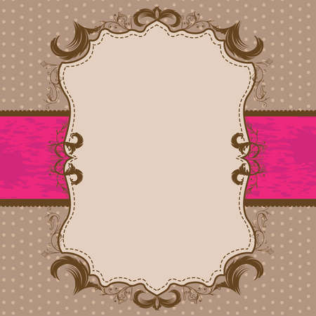 Vintage Framed Shower or Wedding Invite with Bright Pink Ribbon Stock Vector - 57535700