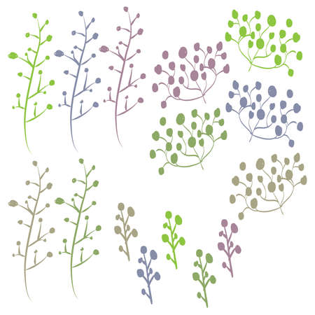 Retro Hand Drawn Foliage Set 68749218